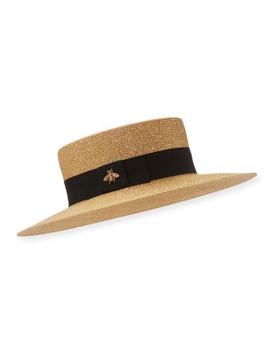 Bee Boater Hat, Tan/Black