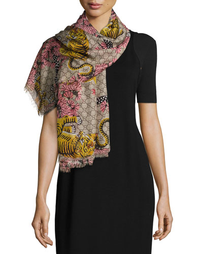 Voile Bengal GG Square Scarf, Rope/Pink