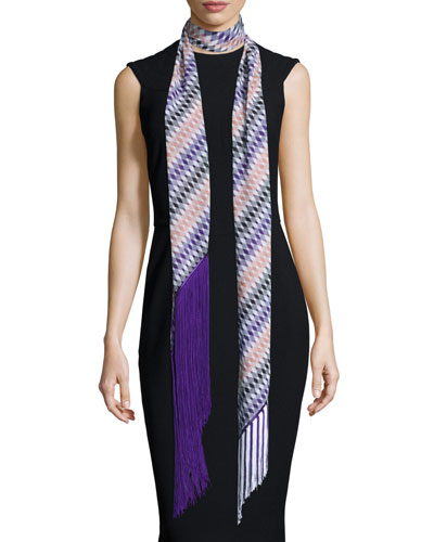 Asymmetric Zigzag Illusion Fringe Scarf, Purple/Multicolor