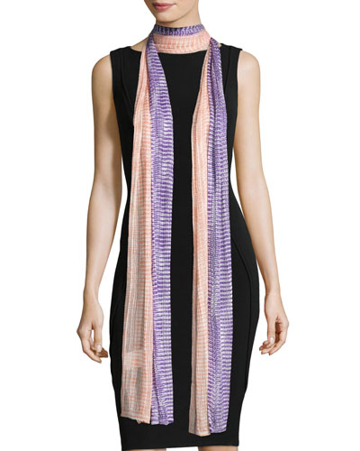 Long Striped Netted Scarf, Multicolor