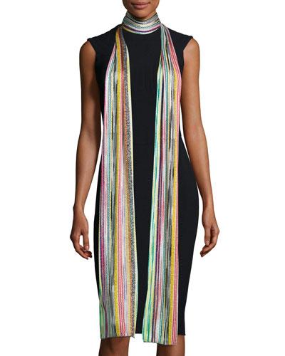 Long Metallic Zigzag Scarf, Multicolor
