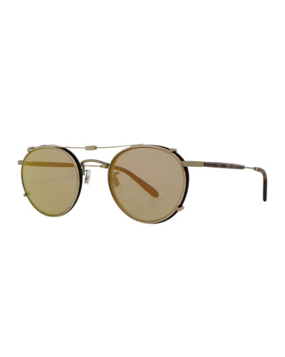 Wilson Round Sunglasses, Gold/Tortoise