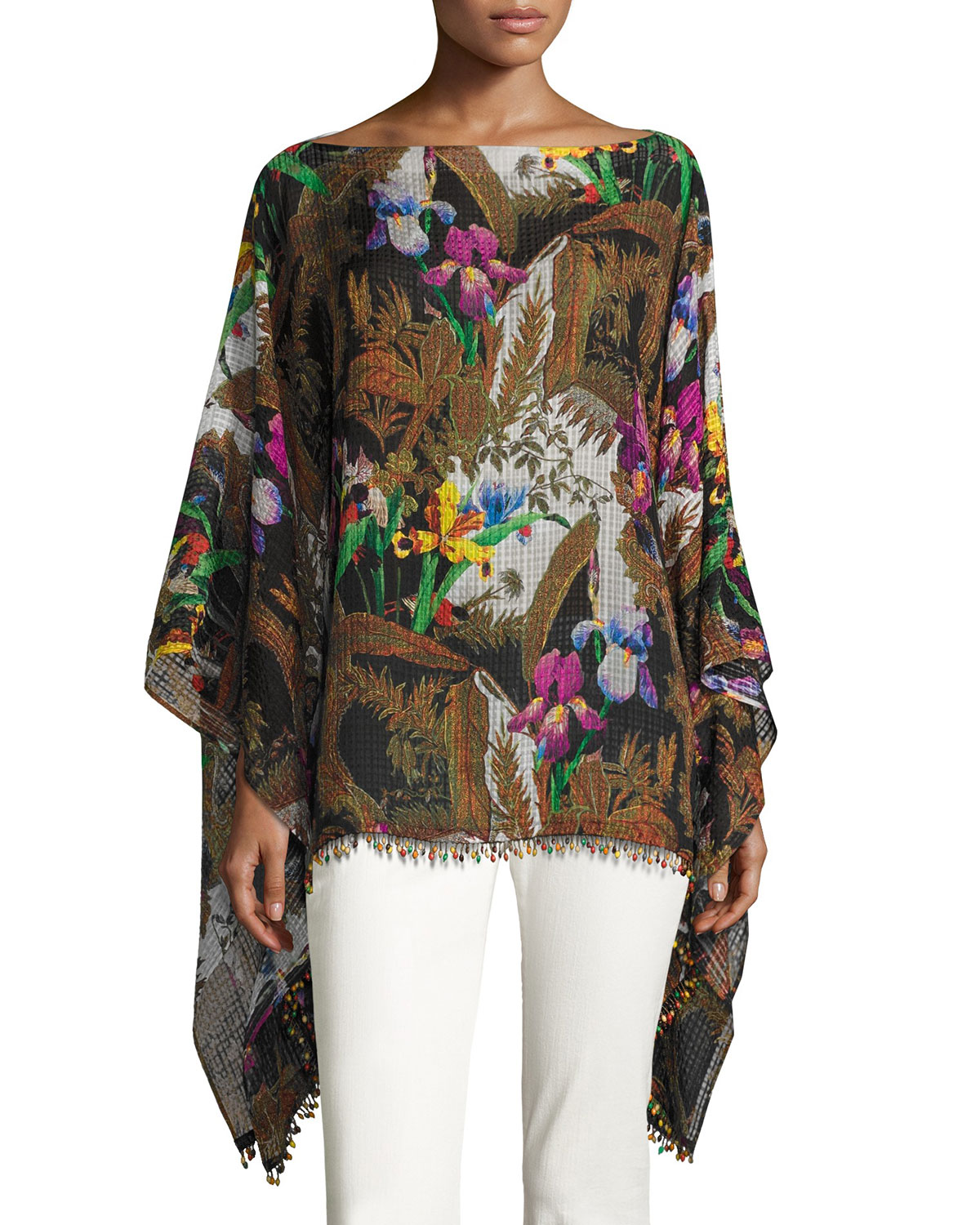 Floral Silk Poncho with Beaded Fringe, Black/Multicolor