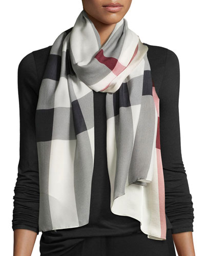 Check Core Oblong Silk Scarf, Trench