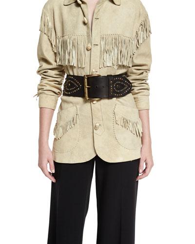 Western Studded Leather Belt, Dark Brown