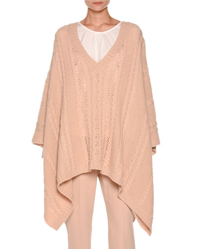 Cable-Knit Cashmere Poncho Sweater, Neutral
