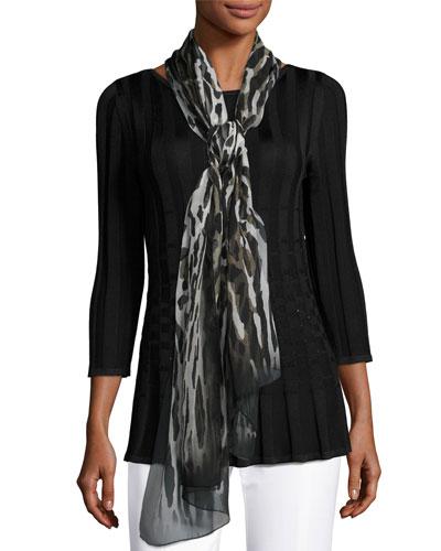 Leopard Safari-Print Silk Scarf, Leopard