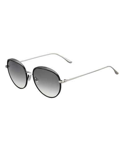 Ello Round Metal Pavé Sunglasses, Black
