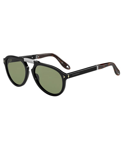Foldable Aviator Sunglasses, Black