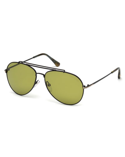 Metal Doubled-Brow Aviator Sunglasses, Black