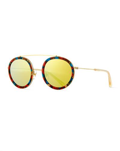 Conti Mirrored Round Aviator Sunglasses, Yellow
