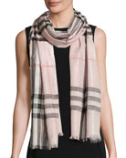 Metallic Gauze Giant Check Scarf, Rose