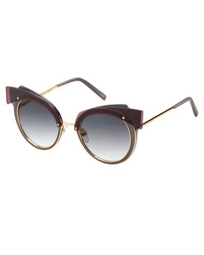 Gradient Round Sunglasses w/ Layered Brow, Dark Red/Gray