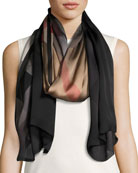 Ombre Washed Check Silk Scarf, Brown/Black