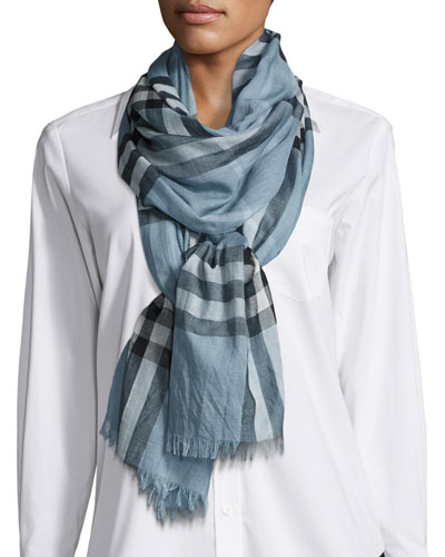 Gauze Giant Check Scarf, Light Blue