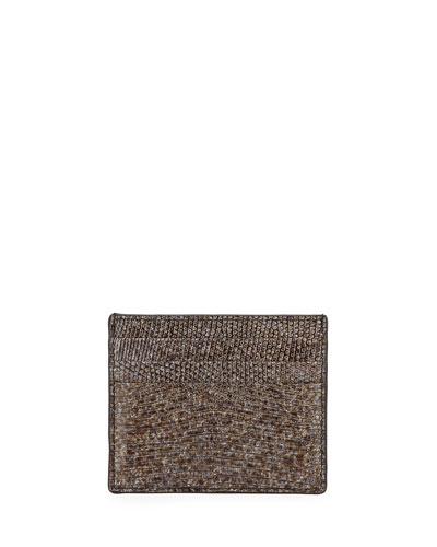 Lizard Card Case, Silver Marble