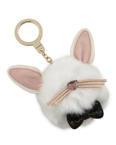bunny pouf keychain, multi