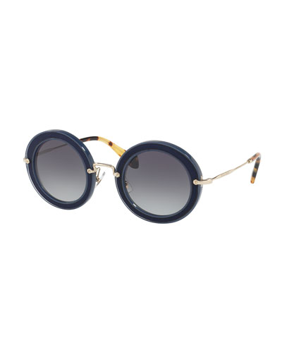 Noir Round Gradient Silk Satin Sunglasses, Blue