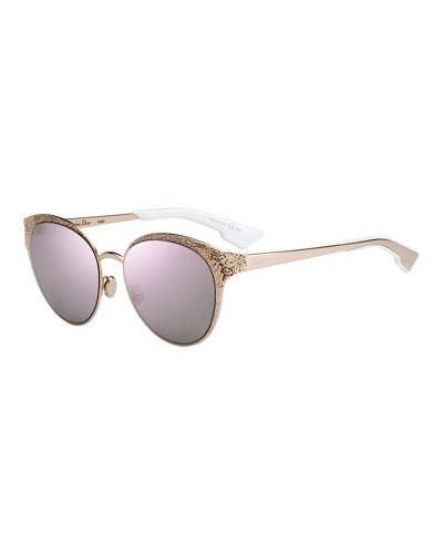 Unique/S Round Mirrored Metal Sunglasses
