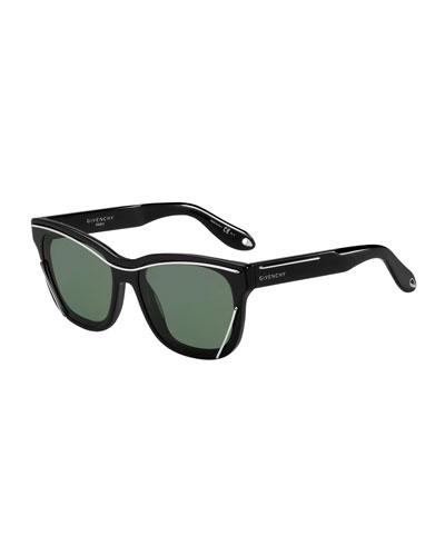 Square Metal-Trim Monochromatic Sunglasses, Black