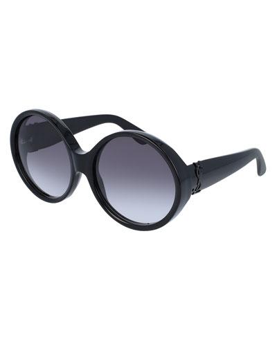 Round Chunky Gradient Sunglasses, Black