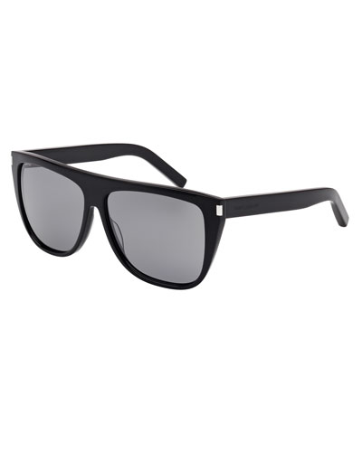 Mirrored Flat-Top Sunglasses, Black