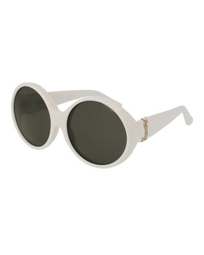 Saint Laurent Round Chunky Monochromatic Sunglasses, Ivory