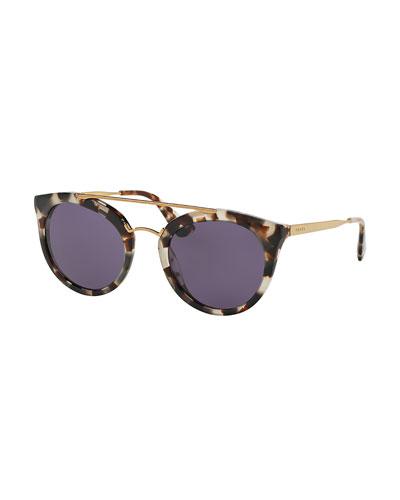 Monochromatic Double-Bridge Cat-Eye Sunglasses, White Tortoise