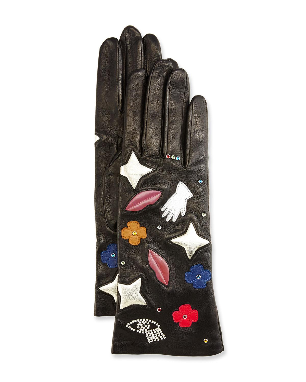Emblem Embroidered Leather Gloves, Black