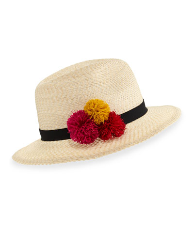 Lillian Hemp-Blend Fedora Hat, Ivory