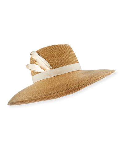 Carmen Wide-Brim Fedora Hat, Camel