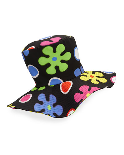 Floral Floppy Top Hat, Black