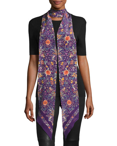 Long Skinny Floral Silk Scarf, Purple