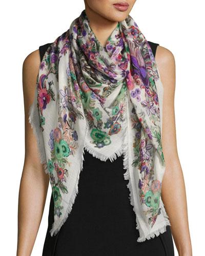 Floral Silk & Cashmere Square Peacock Scarf, Pink/Multicolor