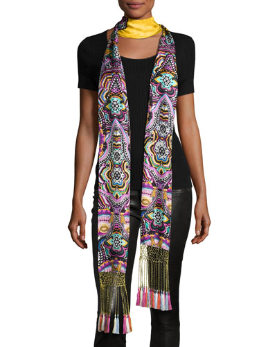 Long Floral Silk Fringe Scarf, Gold/Multicolor
