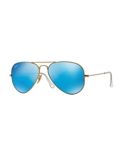 Mirror Aviator Sunglasses, Golden/Blue
