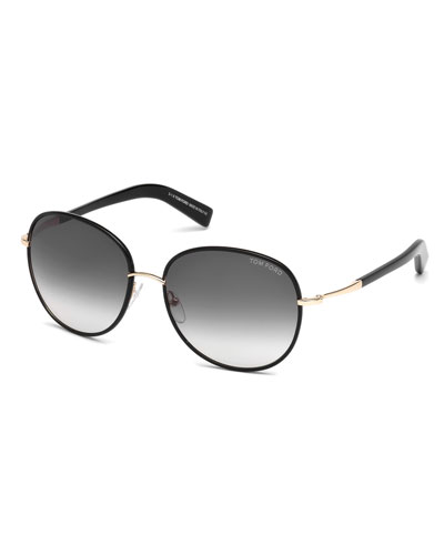 Georgia Gradient Round Sunglasses, Black