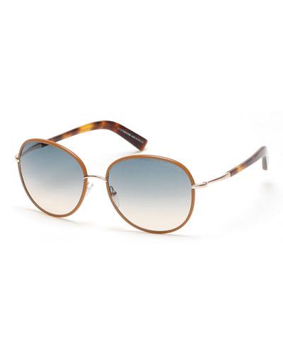 Georgia Gradient Round Leather-Trim Sunglasses, Brown