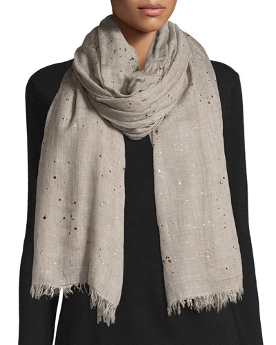 Rugiada Lightweight Metallic Splatter Scarf, Light Gray