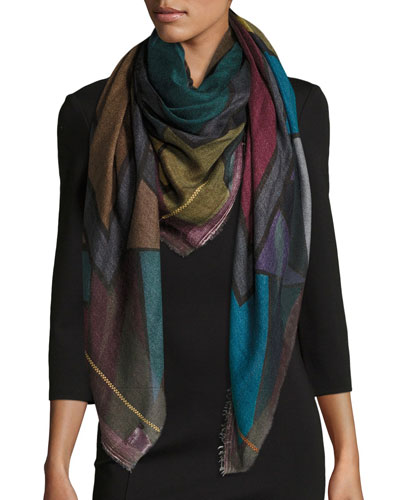 Random Colorblock Cashmere-Blend Scarf, Gray/Blue
