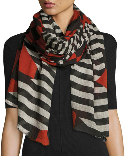 Zig Zag Check & Stripe Voile Scarf, Black/Red