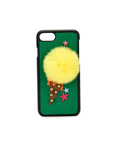 Ice-Cream Pompom iPhone 7 Case, Green