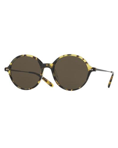 Corby Round Monochromatic Sunglasses, Brown
