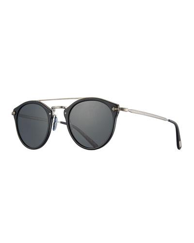 Remick Monochromatic Brow-Bar Sunglasses, Black