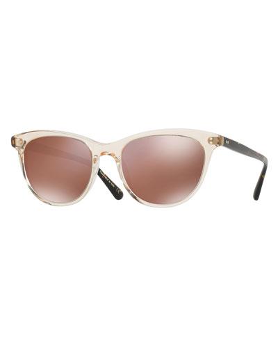 Jardinette Mirrored Square Sunglasses, Yellow