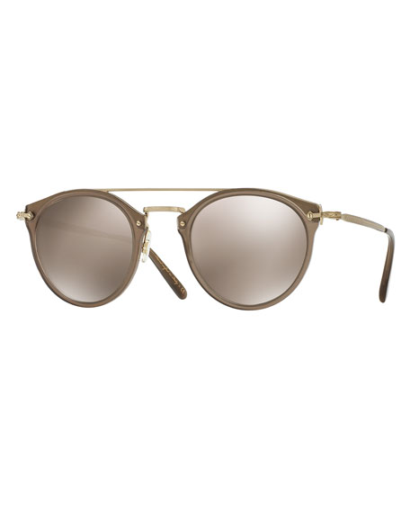 Oliver Peoples Remick Mirrored Brow-Bar Sunglasses, Taupe