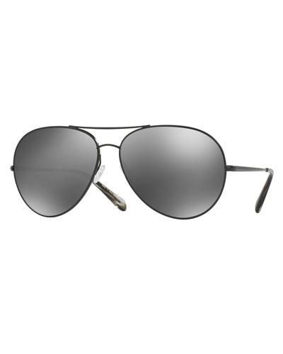 Sayer Mirrored Aviator Sunglasses, Black
