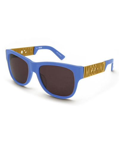 Debossed-Logo Rectangular Sunglasses, Blue/Gold