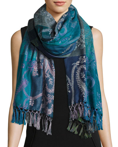 Hoggar Paisley & Check Wool Shawl, Light Blue