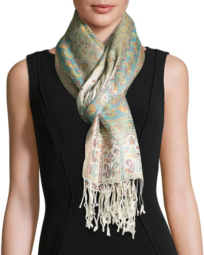 Naseem Floral & Paisley Silk Scarf, Ivory